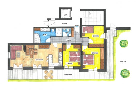 Grundriss Erdgeschoss Garden Apartment - 110 m² Wohnfläche mit Wohnküche, Wohnzimmer und Garten