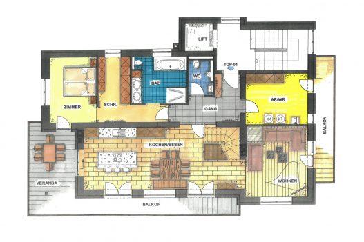 Grundriss Obergeschoss Lifestyle Apartment - 90 m² Wohnfläche mit Wohnküche, Wohnzimmer und Terrasse