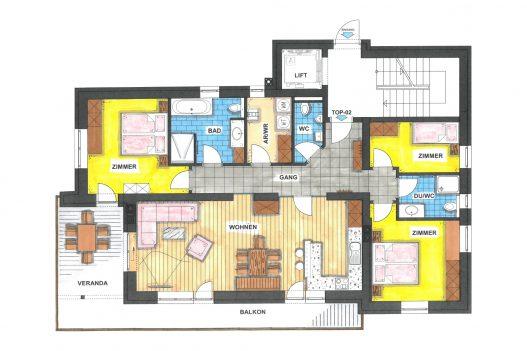 Grundriss Erdgeschoss Family Apartment - 120 m² Wohnfläche mit Wohnküche, Wohnzimmer und Terrasse