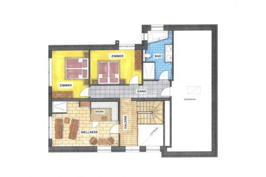 Grundriss Dachgeschoss Lifestyle Apartment - 70 m² Wohnfläche mit Schlafzimmer, Bad und Wellnessraum